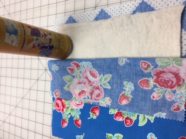 spraying adhesive on quilt machine quilting