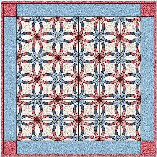 Coordinating Color Double Wedding Ring Quilt