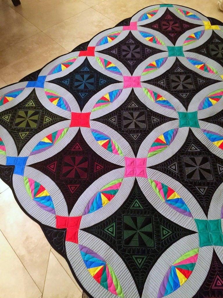 Modern Bright Colors on Dark Background DWR Quilt